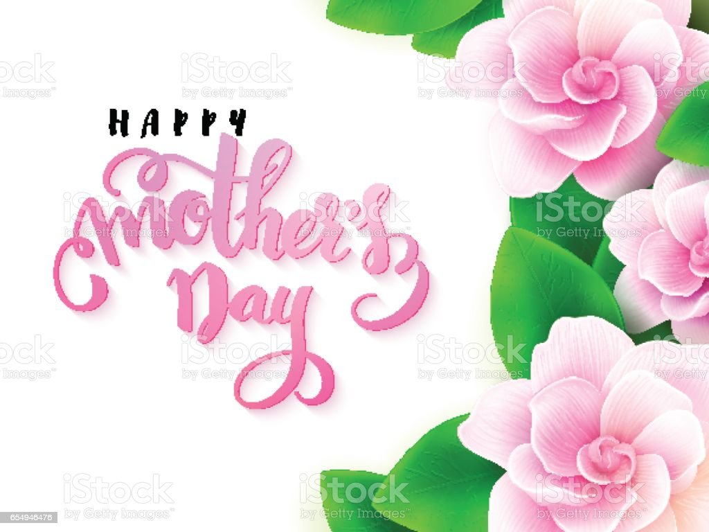 Vector Illustration Of Mothers Day Greetings Card With Hand