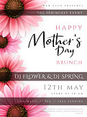 Vector illustration of mother's day invitation party poster template with realistic blooming gerbera flowers and custom hand lettering quote - happy mother's day.
