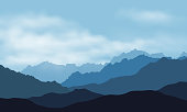 Vector illustration of mountain landscape silhouettes with mist and clouds, under blue sky - with space for your text