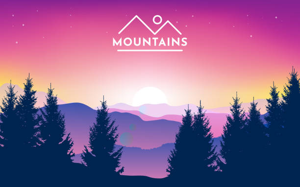 Vector illustration of mountain landscape with forest and sky with dawn. Sunset in the mountains. Morning sky. Vector illustration of mountain landscape with forest and sky with dawn. Sunset in the mountains. Morning sky. mountains in mist stock illustrations