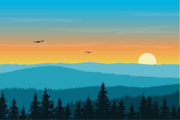 wektorowa ilustracja krajobrazu górskiego z lasem we mgle pod porannym pomarańczowym niebem z wschodzącym słońcem, chmurami i latającymi ptakami - zachód słońca stock illustrations