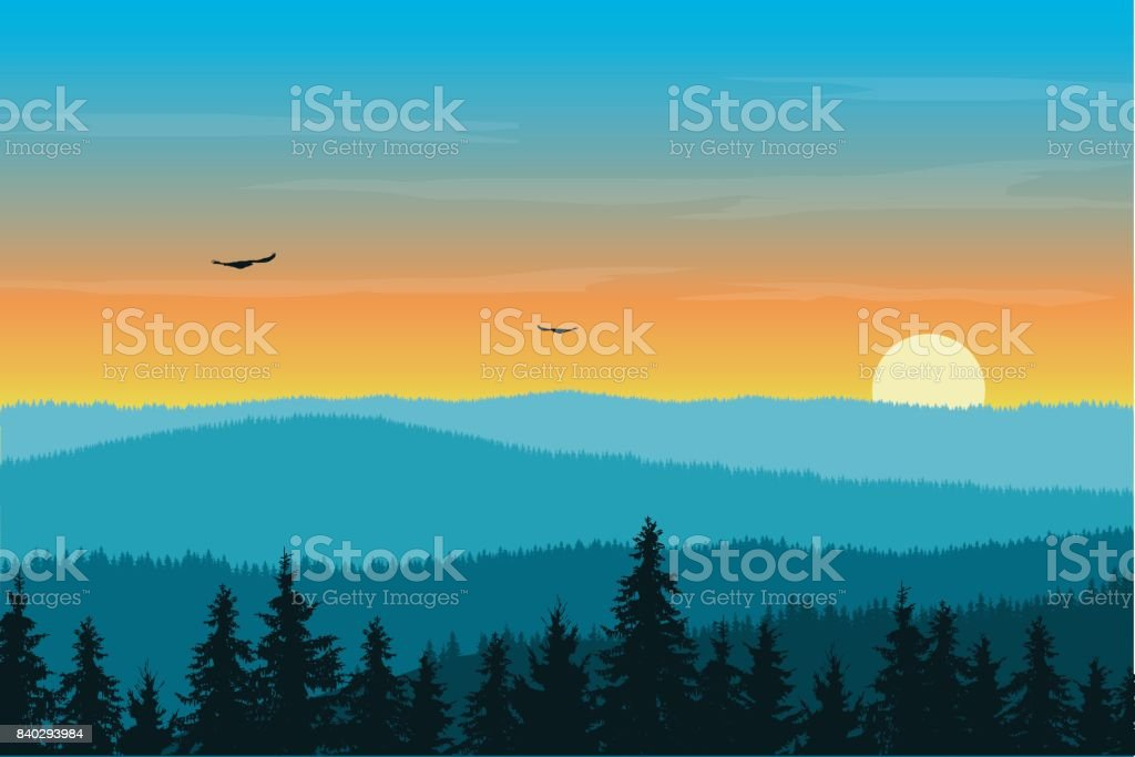 Vector illustration of mountain landscape with forest in fog under morning orange sky with rising sun, clouds and flying birds vector art illustration
