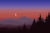 Vector illustration of mountain landscape with forest under blue-pink sky with crescent