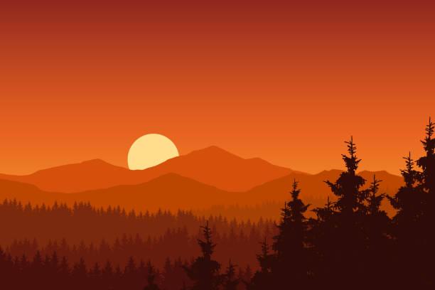 Illustration vectorielle de paysage de montagne avec la forêt sous un ciel orange avec soleil levant - Illustration vectorielle