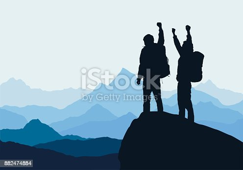 Vector illustration of mountain landscape with two men on top of rock celebrating success raised by hands