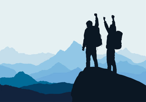 Vector illustration of mountain landscape with two men on top of rock celebrating success raised by hands Vector illustration of mountain landscape with two men on top of rock celebrating success raised by hands mountain top stock illustrations