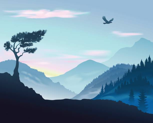 Vector illustration of mountains Vector illustration of landscape with mountains at sunrise mountains in mist stock illustrations