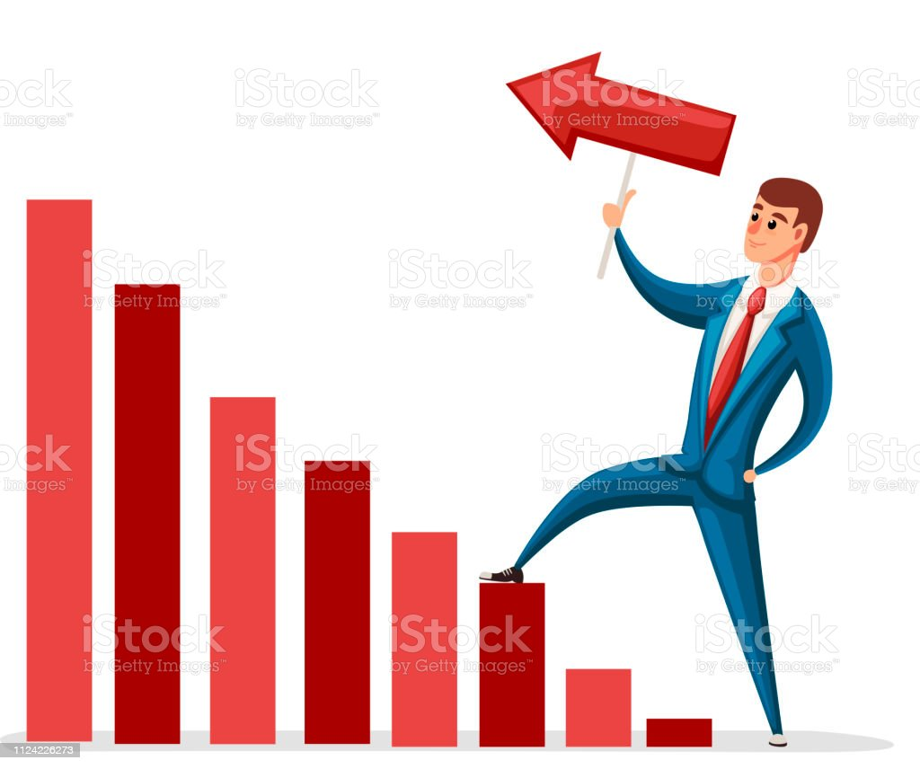 Vector illustration of moving up businessman. Cartoon character...