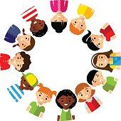 Vector illustration of multicultural children