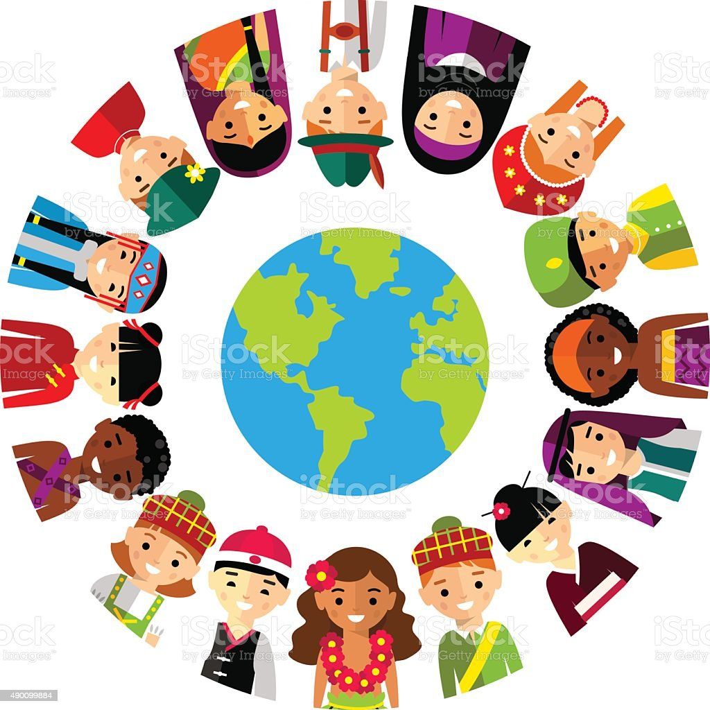 vector illustration of multicultural national children people on rh istockphoto com multicultural clip art free multicultural border clip art