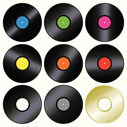 Vector illustration of multiple vinyl records