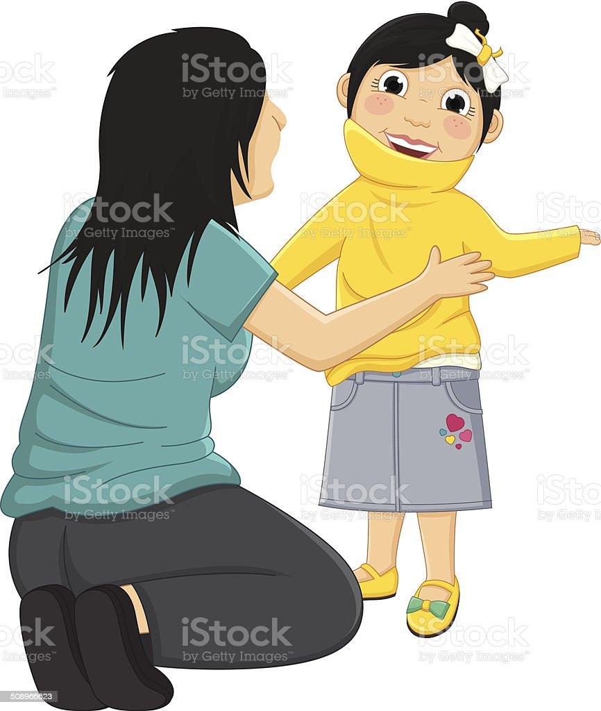 Vektor-Illustration von Mama hilft Tochter mit Ihrer Kleidung – Vektorgrafik