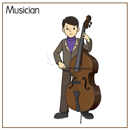 Vector illustration of musician isolated on white background. Jobs and occupations concept. Cartoon characters. Education and school kids coloring page, printable, activity, worksheet, flashcard.