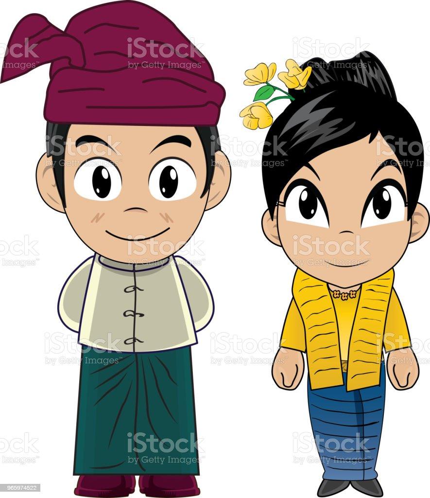 Vektor-Illustration von MyanmarCostume - Lizenzfrei ASEAN Vektorgrafik