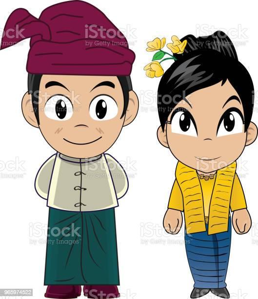 Vektorillustration Von Myanmarcostume Stock Vektor Art und mehr Bilder von ASEAN