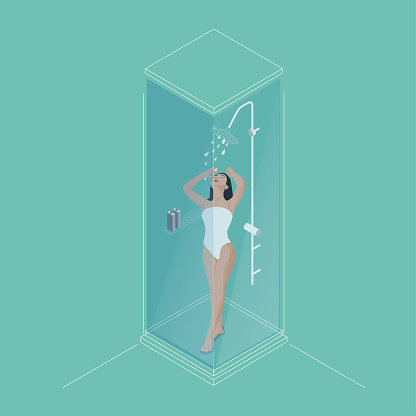 Vector illustration of naked female are taking a shower. Isometric view