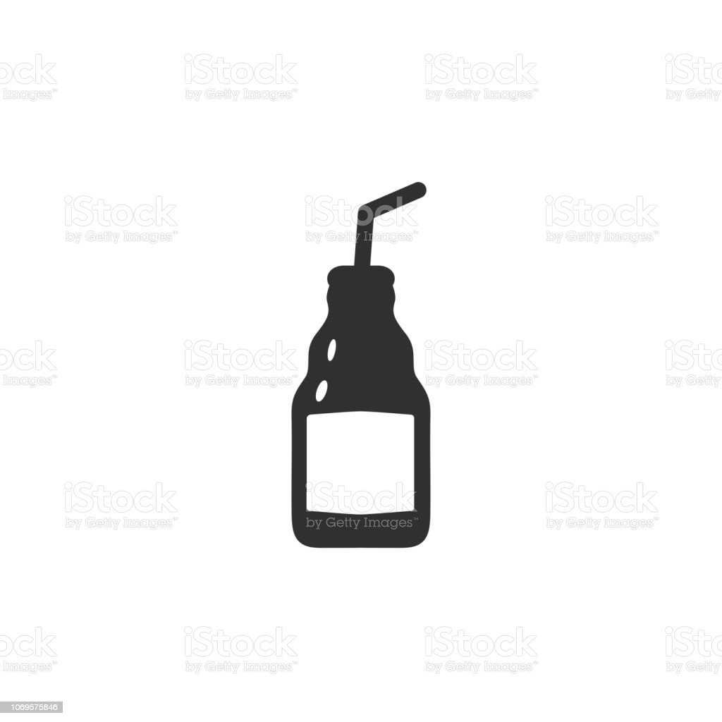 Vector illustration of narrow beer, cocktail bottle with tube in black color with white labels vector art illustration