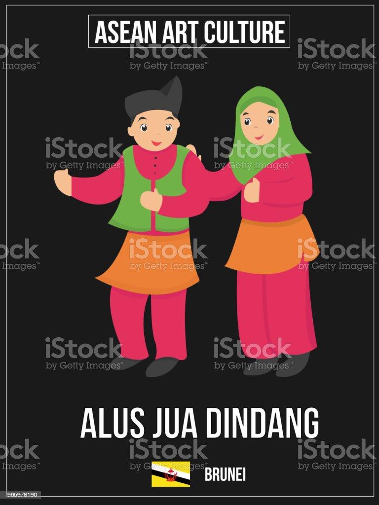 Vectorillustratie van nationale kunst cultuur van Brunei - Royalty-free Association of Southeast Asian Nations vectorkunst