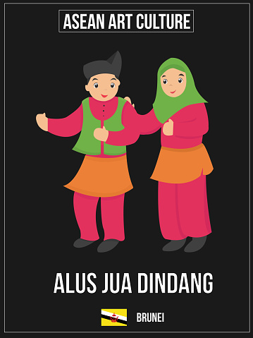Vectorillustratie Van Nationale Kunst Cultuur Van Brunei Stockvectorkunst en meer beelden van Association of Southeast Asian Nations