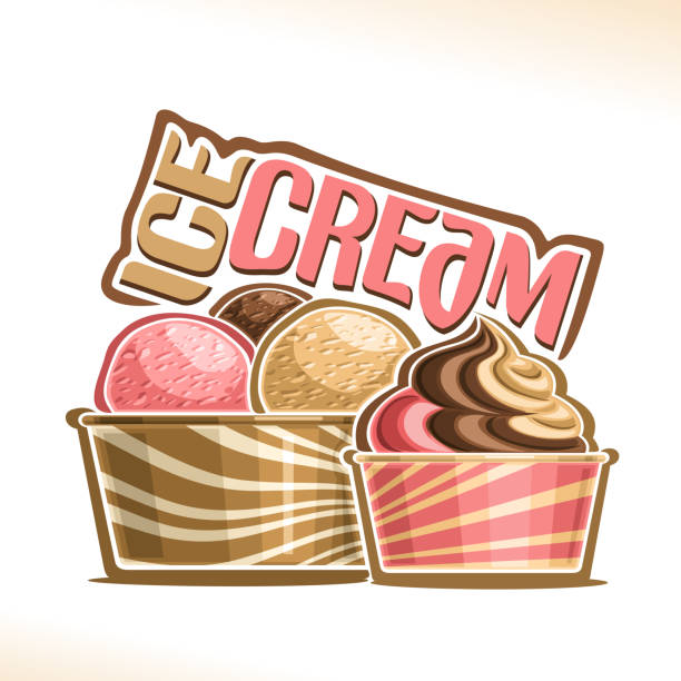Vector illustration of natural Ice Cream Vector illustration of natural Ice Cream, poster with soft serve neapolitan icecream in takeaway cup, 3 colorful scoop balls of italian gelato in cardboard container, original font for words ice cream bowl of ice cream stock illustrations
