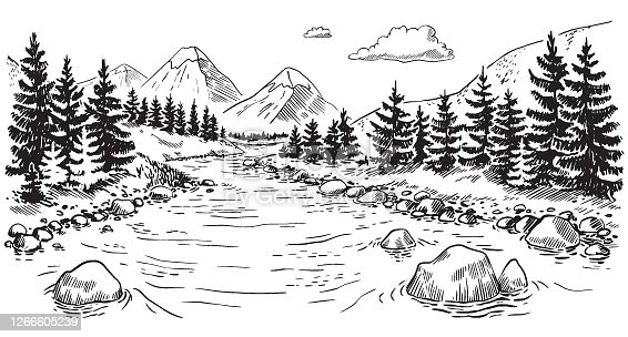 Vector illustration of nature. landscape with mountains, meadows and forest. Illustration of tourism and recreation in the wild. hand-drawn sketch, black and white graphics
