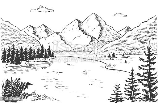 Vector illustration of nature. landscape with mountains, meadows, river and forest. Illustration of tourism and recreation in the wild. hand-drawn sketch, black and white graphics