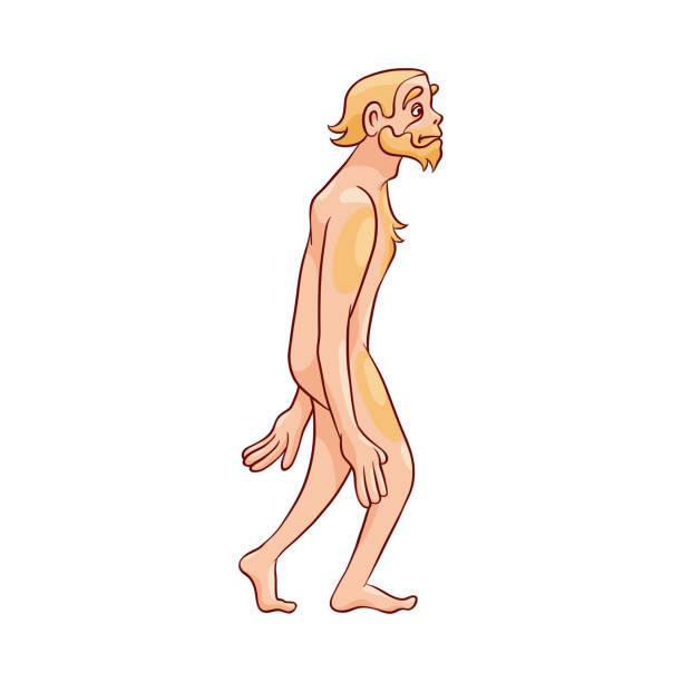 Ilustración vectorial de hombre Neandertal caminando aislado sobre fondo blanco. - ilustración de arte vectorial