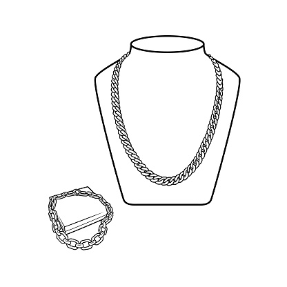 Vector illustration of necklace isolated on white background. Clothing costumes and accessories concept. Cartoon characters. Education and school kids coloring page, printable, activity, worksheet, flashcard.