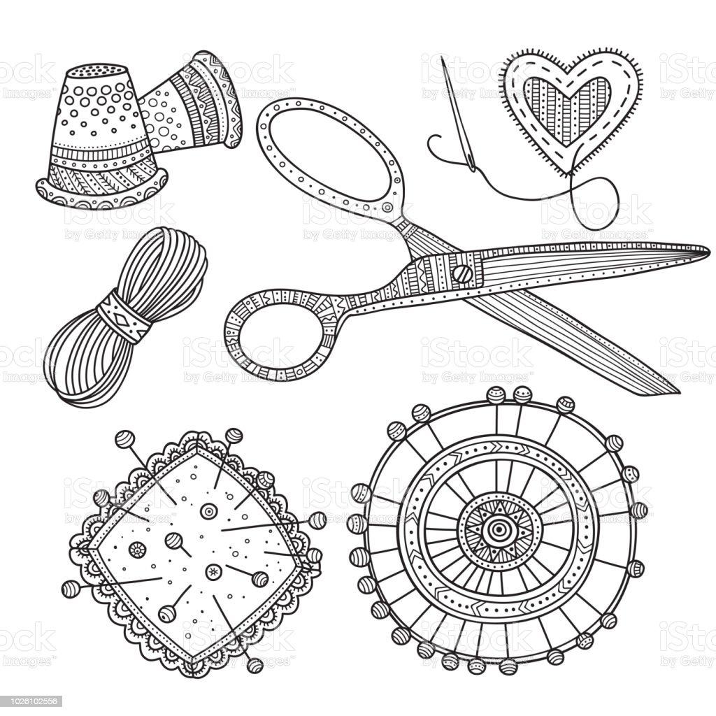 Ilustración de Ilustración De Vector De Costura Herramientas De ...