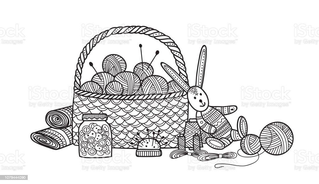 Vector illustration of needlework, sewing  tools. vector art illustration