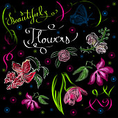 Vector illustration of neon flowers on the black background. Lettering. Beautiful neon floral ornaments.