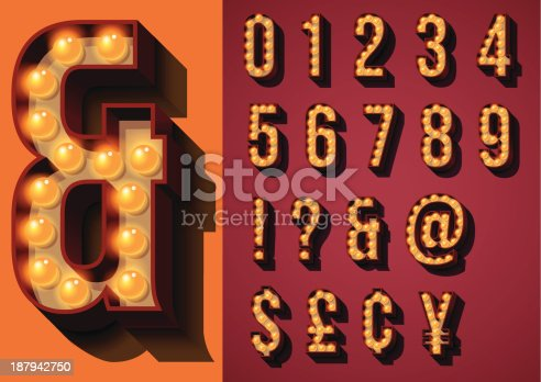 Set of Numbers and Glyphs