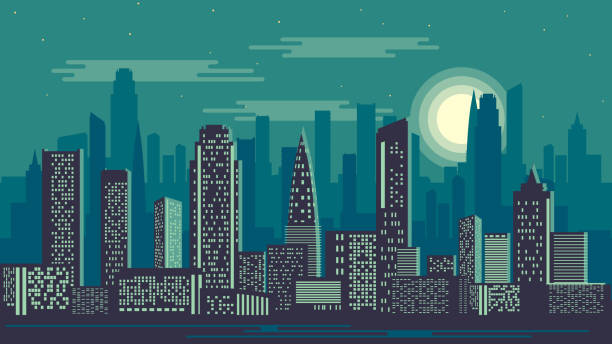 Vector illustration of night city vector art illustration