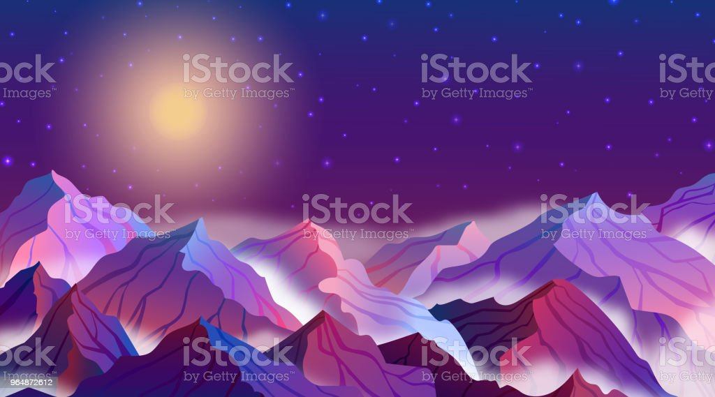 Vector illustration of night landscape with mountains, stars, full moon, beautiful sky royalty-free vector illustration of night landscape with mountains stars full moon beautiful sky stock illustration - download image now