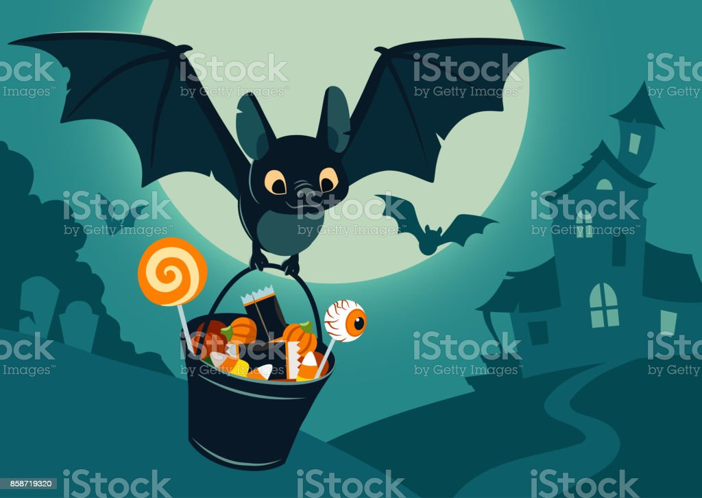 Vector illustration of nighttime Halloween scene, cute bat flying with bucket full of candy, with full moon, haunted house, forest cemetery in the background. Flyer, banner, poster or card template. Vector illustration of nighttime Halloween scene, cute bat flying with bucket full of candy, with full moon, haunted house, forest cemetery in the background. Flyer, banner, poster or card template. Animal stock vector
