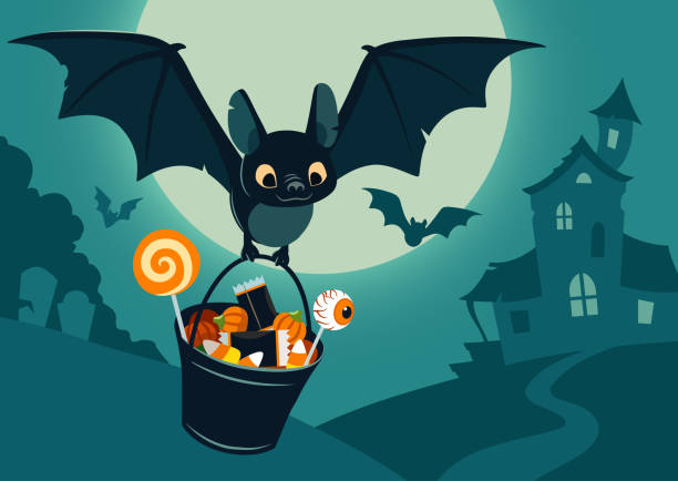 vector illustration of nighttime halloween scene, cute bat flying with bucket full of candy, with full moon, haunted house, forest cemetery in the background. flyer, banner, poster or card template. - halloween candy stock illustrations