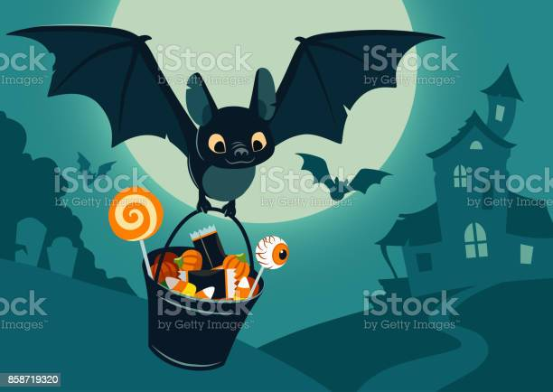 Vector Illustration Of Nighttime Halloween Scene Cute Bat Flying With Bucket Full Of Candy With Full Moon Haunted House Forest Cemetery In The Background Flyer Banner Poster Or Card Template Stock Illustration - Download Image Now
