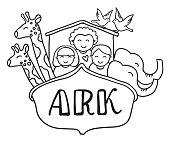 Vector illustration of Noah's ark, black and white