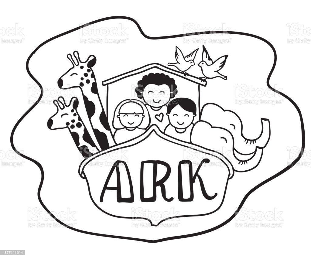 Ilustración De Ilustración De Vector De Arca De Noé Blanco Y Negro Y