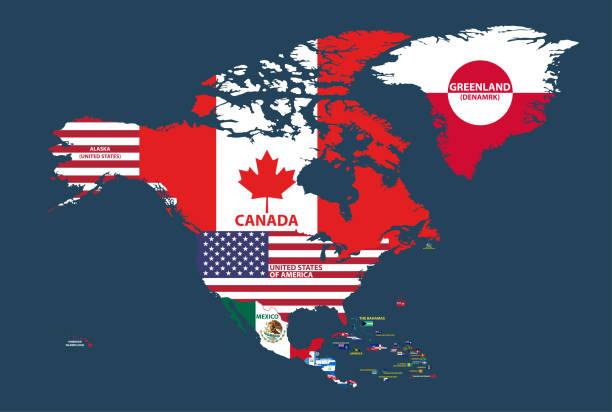 vektor-illustration der nordamerika karte (einschließlich regionen von nordamerika, mittelamerika und karibik) mit ländernamen und flaggen der länder. - flagge kanada stock-grafiken, -clipart, -cartoons und -symbole