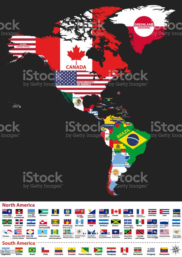 Vector Illustration Of North And South America Map With ...