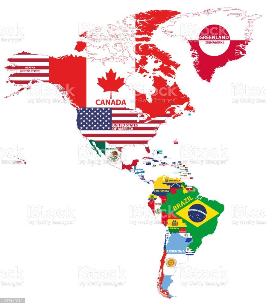 Carte Damerique Du Sud Avec Les Pays.Illustration Vectorielle De Carte Amerique Du Nord Et Du Sud Avec