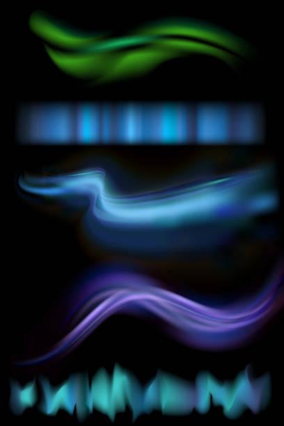 ノーザン オーロラ ライト ストリップのベクター イラストです。黒い背景にまれな自然照明現象オーロラのセットです。 - オーロラ点のイラスト素材/クリップアート素材/マンガ素材/アイコン素材