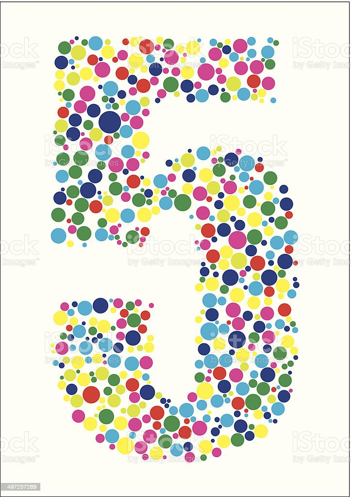 Vector illustration of number five royalty-free stock vector art