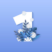 Vector illustration of number one winter natural design with white numeral 1 surrounded by blue tree leaves and falling snowflakes in paper art style isolated on gradient background.