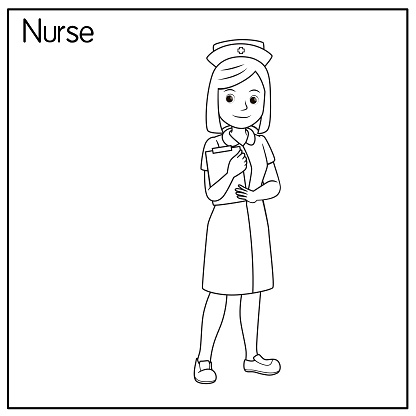 Vector illustration of nurse isolated on white background. Jobs and occupations concept. Cartoon characters. Education and school kids coloring page, printable, activity, worksheet, flashcard.