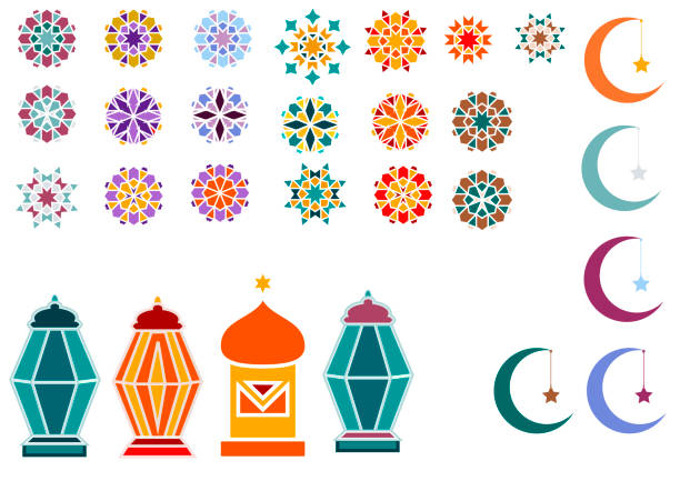 Vector illustration of objects for the Ramadan Kareem holiday for banner, postcard with Islamic geometric patterns, moon, star, frame, flashlights. Vector illustration of objects for the Ramadan Kareem holiday for banner, postcard with Islamic geometric patterns, moon, star, frame, flashlights. morocco stock illustrations