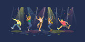 Vector illustration of of happy people jumping dancing on the party