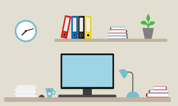 ilustrações, clipart, desenhos animados e ícones de ilustração em vetor de escritório com relógio, pastas e flor na prateleira com laptop, rato, chá e lâmpada - só um homem jovem