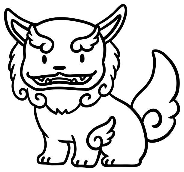 Vector illustration of Okinawan lion statue Hand drawn illustration of cute Okinawan lion statue kokusai dori okinawa stock illustrations